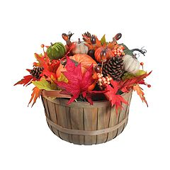 Celebrate Fall Together Light-Up Artificial Pumpkin Basket Decor