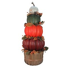 Celebrate Fall Together Artificial Stacked Pumpkin Topiary Decor