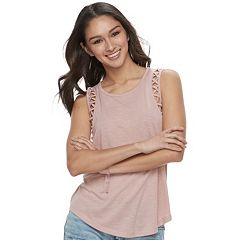 Juniors' Mudd® Lattice-Detail Scoopneck Tank