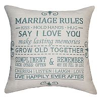 Spencer Home Decor ''Marriage Rules'' Throw Pillow