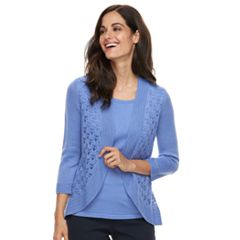 Women's Napa Valley Crocheted Mock-Layer Sweater