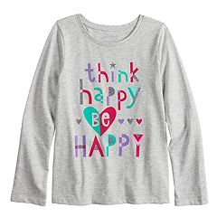 Girls 4-10 Jumping Beans® 'Think Happy, Be Happy' Long Sleeve Glitter Graphic Tee