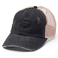 Women's Distressed Mesh Back Ponytail Baseball Cap