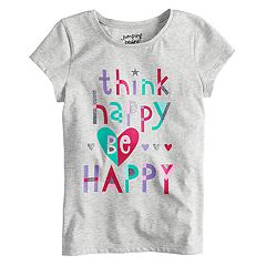 Girls 4-10 Jumping Beans® 'Think Happy, Be Happy' Glitter Graphic Tee
