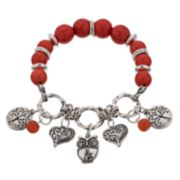 Believe In Nickel Free Tree, Heart & Owl Beaded Charm Stretch Bracelet