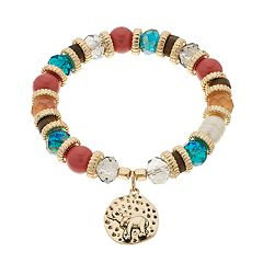 Believe In Beaded Elephant Charm Stretch Bracelet
