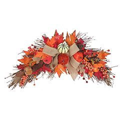 Celebrate Fall Together Artificial Pumpkin & Leaves Wall Decor