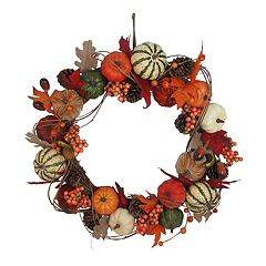 Celebrate Fall Together Indoor Artificial Pumpkin Wreath