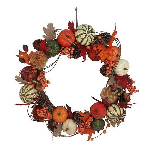 Celebrate Fall Together Indoor Artificial Pumpkin Wreath