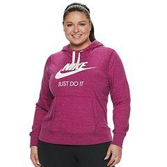 9c3bc394766 Plus Size Nike Sportswear Gym Vintage Hoodie. Carbon Heather Black ...
