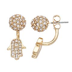 Simply Vera Vera Wang Simulated Crystal Hamsa Front Back Earrings