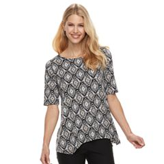 Women's Dana Buchman Print Shark-Bite Hem Top