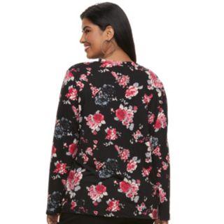 Juniors' Plus Size Liberty Love Gigi Floral Lace-Up Top