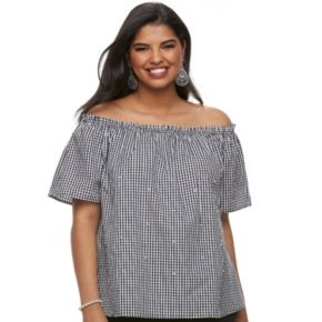 Juniors' Plus Size Liberty Love Off-the-Shoulder Gingham Top