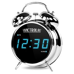 Victrola Classic Chrome Twin Bell Alarm Clock