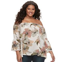Juniors' Plus Size Liberty Love Striped Floral Off-the-Shoulder Bell Sleeve Top
