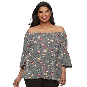 69ec5367b20 Juniors  Plus Size Liberty Love Floral Off-the-Shoulder Top