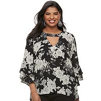Juniors' Plus Size Liberty Love Floral Bell Sleeve Top