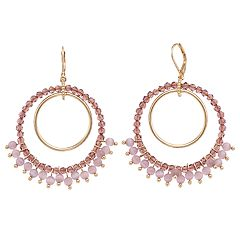 Simply Vera Vera Wang Pink Bead Double Hoop Drop Earrings
