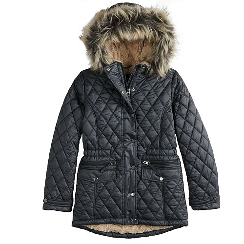 Girls 7-16 SO® Faux Fur Lined Heavyweight Quilted Parka Jacket
