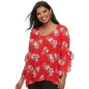 Juniors' Plus Size Liberty Love Floral Bell Sleeve Popover Top