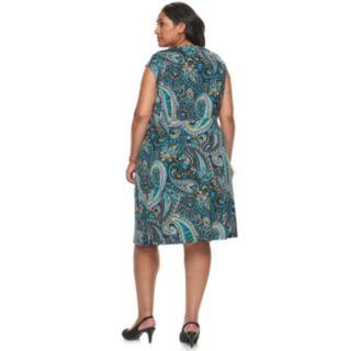 Plus Size Dana Buchman Twist Knot Fit & Flare Dress