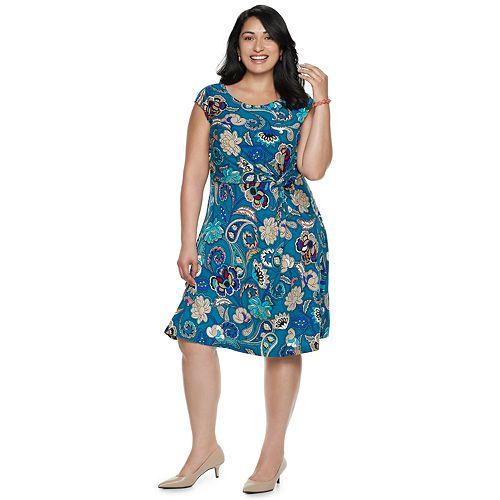 Plus Size Dana Buchman Twist Knot Fit Flare Dress