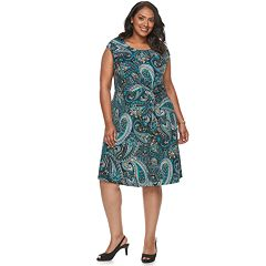 Plus Size Dana Buchman Twist Knot Fit & Flare Dress