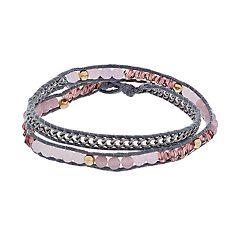 Simply Vera Vera Wang Pink Bead & Gray Cord Wrap Bracelet