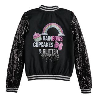"Girls 7-16 JoJo Siwa ""Rainbows, Cupcakes & Glitter"" Bomber Jacket"