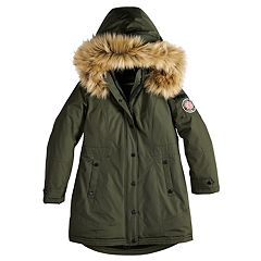 Girls 7-16 Madden NYC Taslon Faux-Fur Trim Heavyweight Parka Jacket