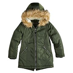 Girls 7-16 Madden NYC Anorak Faux-Fur Trim Heavyweight Jacket
