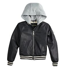 Girls 7-16 Madden NYC Faux-Leather Bomber Hooded Midweight Jacket