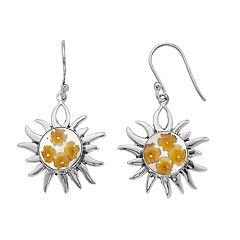Sterling Silver Pressed Flower Sun Drop Earrings