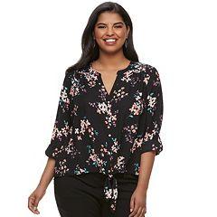 Juniors' Plus Size Candie's® Floral Tie-Front Crepe Shirt