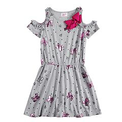 Girls 7-16 JoJo Siwa Ruffled Cold Shoulder Dress with Bow Accent