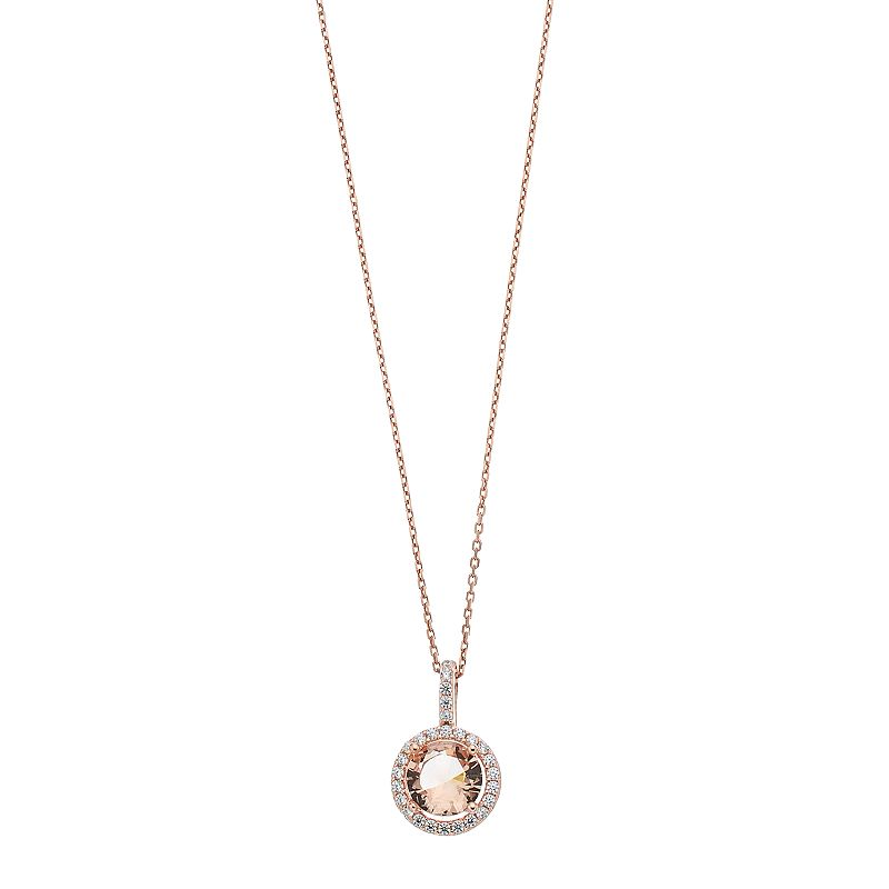 """14k Rose Gold Over Silver Simulated Morganite Halo Pendant Necklace. Women's. Size: 18"""". Pink"""