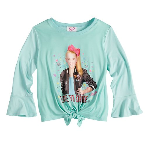 "Girls 7-16 JoJo Siwa Knotted ""Live to Dance"" Long Bell Sleeve Top"