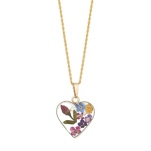 24k gold over silver pressed flower heart pendant necklace aloadofball Images