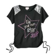"Girls 7-16 JoJo Siwa Sequined Tulle ""Be Your Own Star"" Tee"