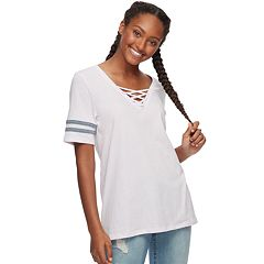 Juniors' SO® Lace-Up Varsity Tee