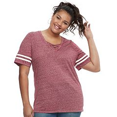 Plus Size SO® Lace-Up Varsity Tee