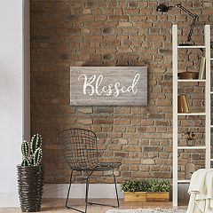 Artissimo Designs Faux Wood 'Blessed' Canvas Wall Art