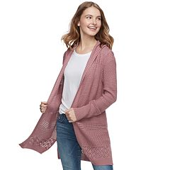 Juniors' Pink Republic Hooded Open-Work Long Cardigan