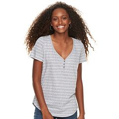 Juniors' SO® Striped Henley Tee
