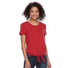 Juniors' SO® Tie Front Tee