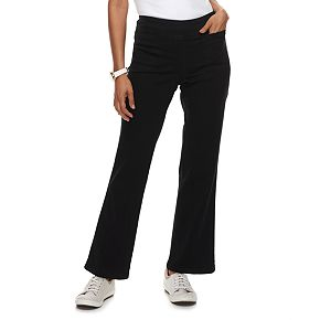 Petite Croft & Barrow® Pull-On Mid-Rise Bootcut Jeans