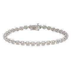 Sterling Silver 1 Carat T.W. Diamond Tennis Bracelet