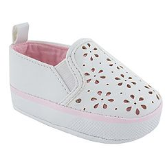 Baby Girl Wee Kids Flower Cut-Out Slip-On Crib Shoes