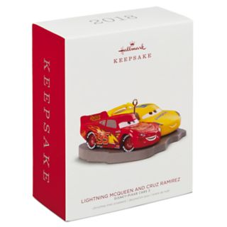 Disney/Pixar Cars 3 Lightning McQueen & Cruz Ramirez 2018 Hallmark Keepsake Christmas Ornament